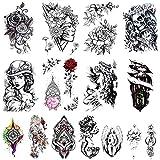 RONGXI(15 fogli) adesivi per tatuaggi temporanei sexy adesivi per schizzi impermeabili e lavabili decorazioni per feste WS001