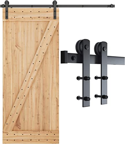 SMARTSTANDARD 6ft Heavy Duty Sturdy Sliding Barn Door Hardware Kit -Smoothly and Quietly -Easy to Install -Includes S...