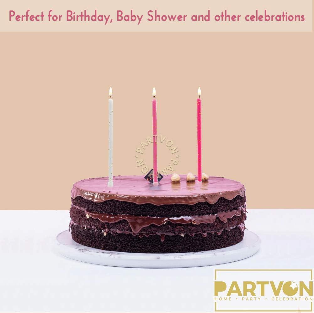 Glitter Birthday Cake Candles Pink Set