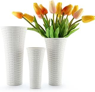 T4U White Vases for Decor Ceramic - Set of 3, Porcelain Tall Flower Vases Unique Home Decor Rattan Style Vases