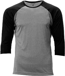 CHAMPRO Extra Innings 3/4 Sleeve Baseball Shirt; L; Grey