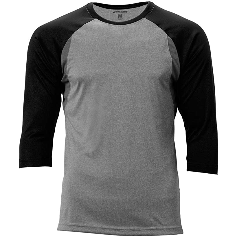 CHAMPRO Extra Innings 3/4 Sleeve Baseball Shirt; L; Grey