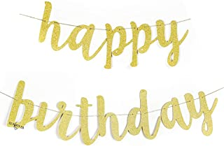 Happy Birthday Gold Glitter Banner | Chic Surprise Party | Birthday Celebration Decorations | Pennant Bunting Flag Garland | 30th 40th 50th 60th 70th 80th 16th 59th 95th 88th 20th 1st 21s