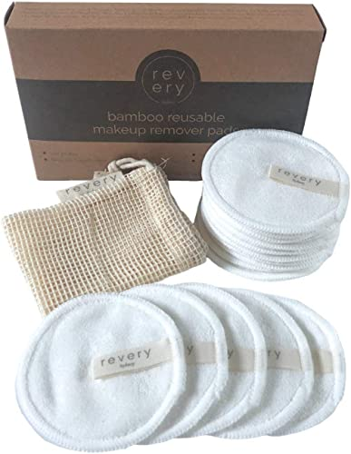 Revery Sydney Reusable Makeup Remover Pads, 16 pack - Hypoallergenic - Washable Reusable Bamboo Cotton Pads Facial Ro...