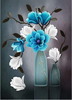 DIY Diamond Painting Kits for Adults, Kids,Home Decor Room Office Presents for Him Her Blue Vase and Flower 15.7x22in 1 Pack by Fairtie