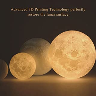 Aibecy 20cm/ 7.9 Inch Moon Lamp USB Rechargeable LED 3D Printed PLA Night Light