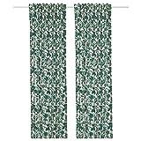 IKEA ASIA Alpklover Curtain,s 1 Pair, White Dark Green, 57.1x98.4 inch