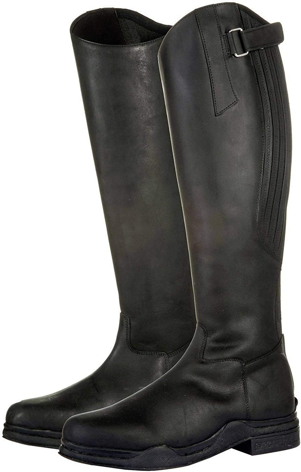 Country HKM Black Leather Long Horse Riding Yard Mucking Out Water Proof Boots (42)