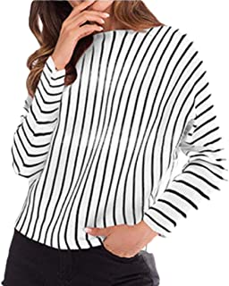 Women Long Sleeve Knit Sweater Striped Pullover Tops