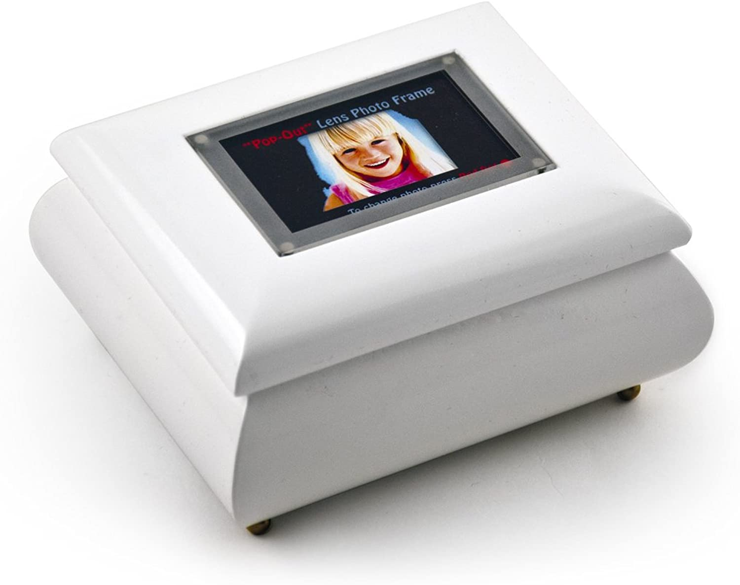 3  x 2  Wallet Size White Lacquer Photo Frame Music Box with New  PopOut  lens System with 18 Note TuneUnforgettable