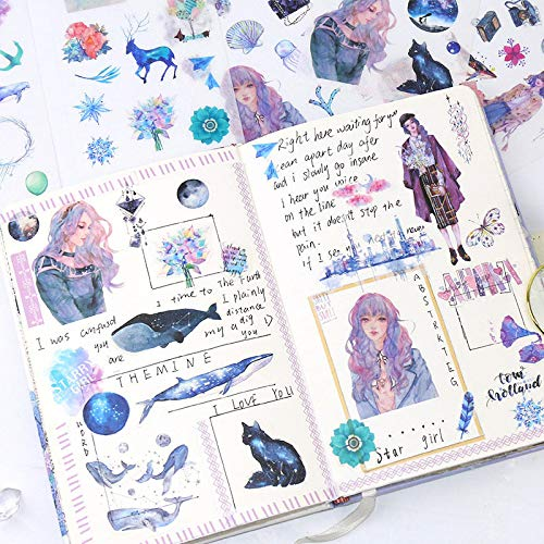 PiniceCore 6Sheets / Packung Kawaii Sticker Nette Wal-Aufkleber Papieraufkleber für Kinder Tagebuch Scrapbooking Foto Ablums