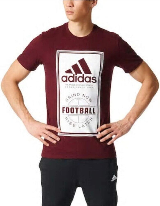 adidas Men's Big & Tall Football Label Short Sleeve Graphic Tee, Maroon/White