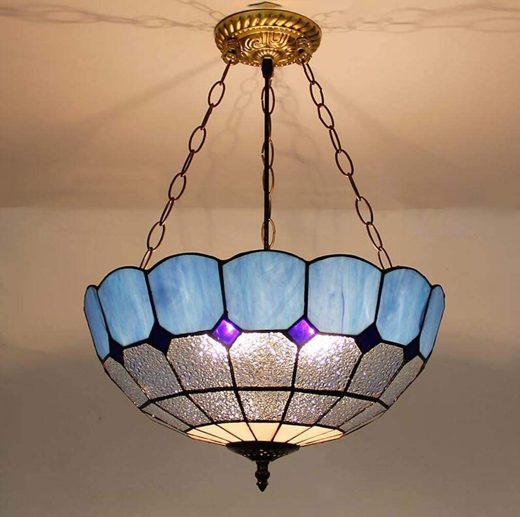 Chandelier Lighting Tiffany Style Inverted Ceiling Pendant Fixture Stained Glass Shade Victorian Hanging Lamp Ceiling Light Fixture For Living Room Dining Room Amazon Co Uk Lighting