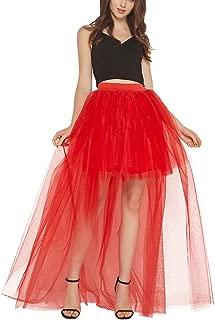 Reyoust Womens Steampunk High Low Tutu Dovetail Skirts Tulle Skirt High Waist Princess Wedding Skirt
