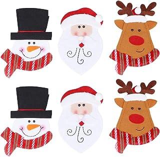 Amosfun Titulares de vajilla de navidad Papá Noel muñeco de nieve reno cuchillo y tenedor bolsa cubiertos de plata set para fiesta de navidad decoraciones de mesa suministros 6 piezas