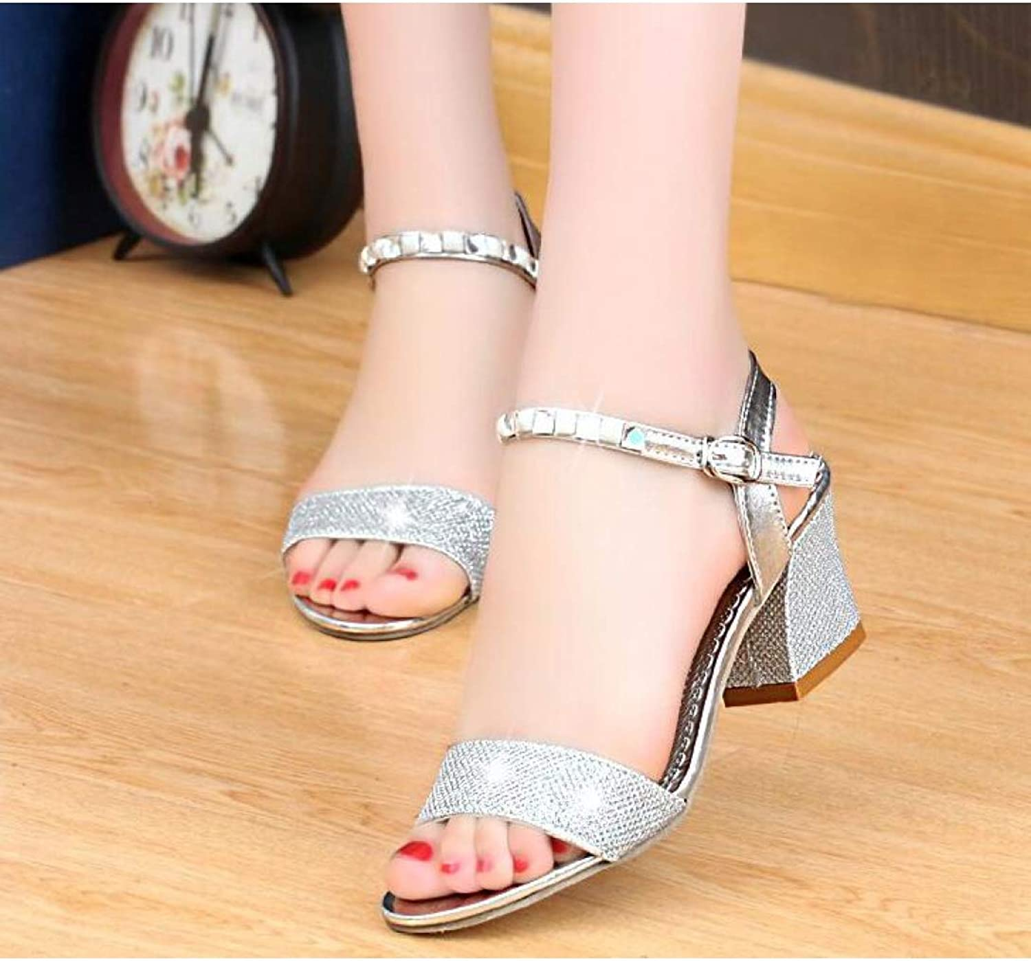 T-JULY Women Sandals Sexy Crystal Summer Square Heel High Heels Ladies Fashion Buckle Strap Pumps shoes
