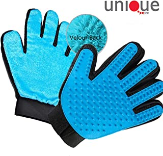 Pet Grooming Glove, [Upgraded Two Side] Gentle Grooming Tool + Furniture Pet Hair Remover Mitt for Cat Dog Deshedding Brush Glove Five Fingers Massager Glove Tool Adjustable Pet Brush