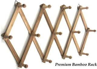 Azi Excellent Quality Bamboo Rack - Accordion Style Expandable Wall Mounted Rack - 13 Pegs/Hooks (2'' Long Pegs) for Hat Caps Belt Umbrella Coffee Mug Jewelry Elegant Eco-Friendly