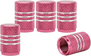 Senzeal 5x Aluminum Alloy Car Tire Valve Stem Caps Round Style Air Covers Pink