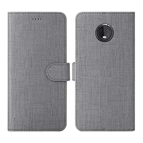 Moto Z4 Case, Moto Z4 Play Case, Foluu Wallet Case Cover Card Holster Canvas Flip/Folio Soft TPU Cover Bumper with Kickstand Ultra Slim Strong Magnetic Closure for Motorola Z4 Play/Moto Z4 (Gray)