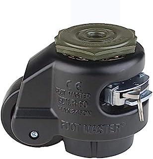 FOOTMASTER GDR-60S-BLK-1/2 nylon wiel en NBR pad ratcheting nivellering Caster, 500 lbs, stuurpen gemonteerd met 0,5 inch ...