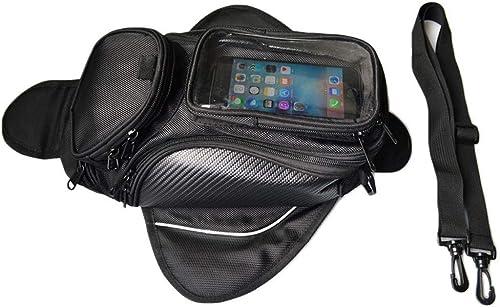 Wsw Sac De Réservoir De Voiture De Voiture en Tissu Oxford épais en Tissu De Moto Sac De Moto Sac à Dos Magnétique avec Grand écran sans Support (Noir) Grande capacité Confortable