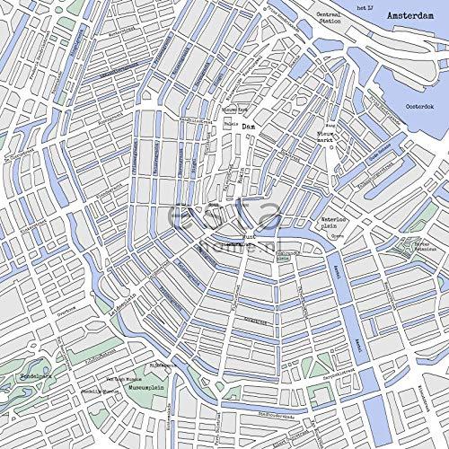fotobehang kaart van Amsterdam grijs en blauw - 157712 - van ESTAhome