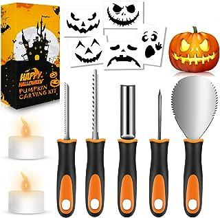 FATHABY Halloween pumpa snideri set, premium rostfritt stål, halloweendekoration, stenciler, 2 LED-ljus, 13-delar professi...