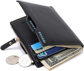 محفظة من الجلد الأصلي بطبقة مزدوجة من حاملة بطاقات الائتمان RFID للفتح المنبثق (أسود)