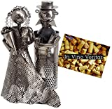 Brubaker - Botellero, diseño de escultura de metal con pareja de novios...