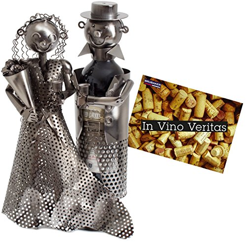 Brubaker - Botellero, diseño de escultura de metal con pareja de novios