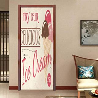 Ice Cream Vinyl Stickers Try Our Delicious Ice Cream Logo Pop Art Style Advertisement Graphic Print Decal Sticker Pink Cream Umber W35.4 x H78.7 INCH