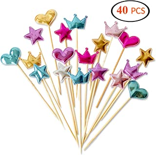 ARTEM 40Pcs Cupcake Toppers Sequin Heart Star Crown Cake Toppers for Baby Shower Party Wedding Cake Decoration Supplies