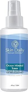 Skin Daily Ocean Mineral Facial Toner Spray - Alcohol Free Skin Care for Oily, Dry, and Combo Skin - With Tea Tree Oil, Organic Kelp Extract, Blue Green Algae, Dead Sea Salt - 4 oz