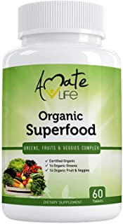Organic Superfood Greens Fruits and Veggies Complex- Best Dietary Supplement with 14 Greens and 14 Fruits & Vegetables- Ri...