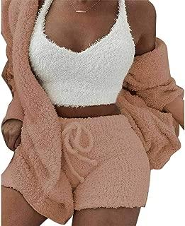 Portonss Women Clothes Set, Fluffy Hooded Long Sleeves Coat Open Front Shorts Vest Set for Women Winter