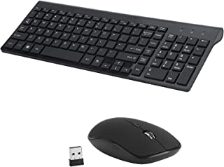 Wireless Keyboard Mouse Combo, 2.4Ghz Ultra-Thin Full-Size Wireless Keyboard And Mouse Combo, with USB Receiver, Suitable ...