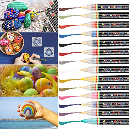 Anpro 14 Color Acrylic Pen,14 Paint Pens with 2 Drawing template,Stone Painting Set,Used in Stone,Ceramic,Glass,Cloth,Wood,Diy Mug,Diy Photo Album