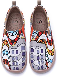 UIN Women's Lightweight Sneakers Casual Loafers Travel Painted Walking Slip On Comfortable Canvas Fashion Spainish Style