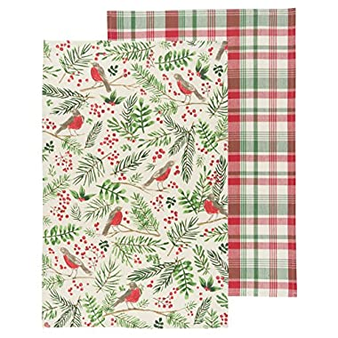 Now Designs Kitchen Dishtowel Set of Two, Wintersong Print and Plaid