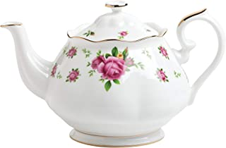 Royal Albert New Country Roses Teapot, 42.3 ounces, Mostly White with Multicolored Floral Print