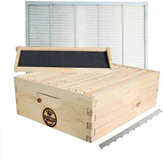 Goodland Bee Supply GL-1SK-TK3 Super Box Kit Including 10 Wood Frames and 10 Pierco Plastic Foundations, Metal Queen Excluder / Frame Spacer Included, (GLHSBOX)