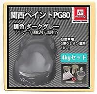 関西ペイント PG80 ダーク グレー 4kgセット(シンナー/硬化剤/道具付) 自動車用 ウレタン 塗料 2液 カンペ