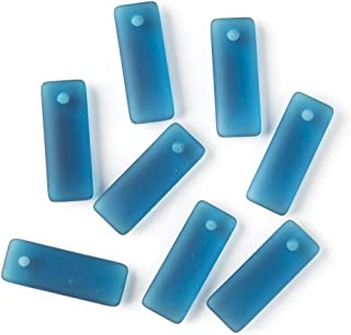 Cherry Blossom Beads Top Drilled Peacock Blue Cultured Sea Glass 12x32mm Rectangle Pendants - 8 Per Bag
