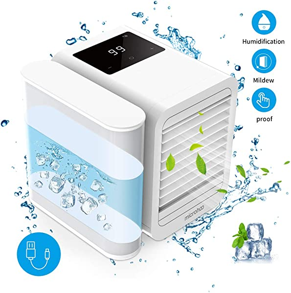 Personal Air Cooler Air Conditioner Fan 3 In 1 USB Portable Mini Space Cooler Evaporative Humidifier Purifier Cooling Fan For Home Offices Kitchen White