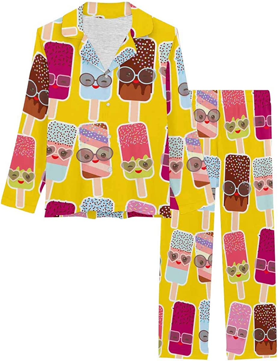 InterestPrint Pajamas Set Long Sleeve Ice 67% OFF of fixed price Loungewear with Button Department store