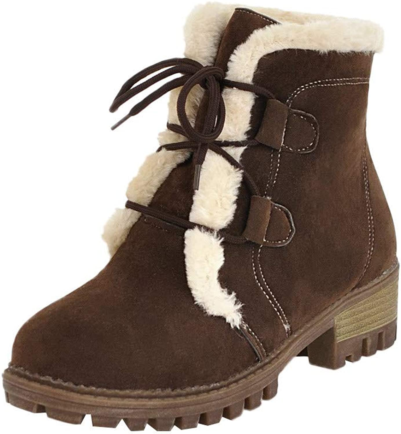 Goodtrade8 Clearance Ankle Snow Boots for Women Winter Outdoor Leisure Plus Velvet shoes Lace-Up Non-Slip Round Toe Thin Warm Snow Boots (8, Brown)