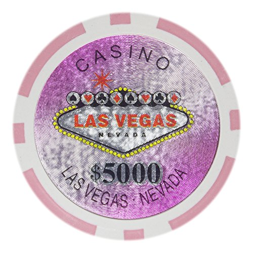 Brybelly Las Vegas Casino Poker Chip Heavyweight 14-Gram Clay Composite – Pack of 50 ($5000 Pink)