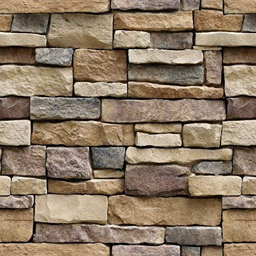 """Stone Peel and Stick Wallpaper- Adhesive Brick Backsplash, Prepasted Contact Paper, Easily Removable Shelf Paper – Faux 3D Textured Rustic Multicolored Vintage Wall paper – 17.71"""" Wide x 118"""" Long (1)"""