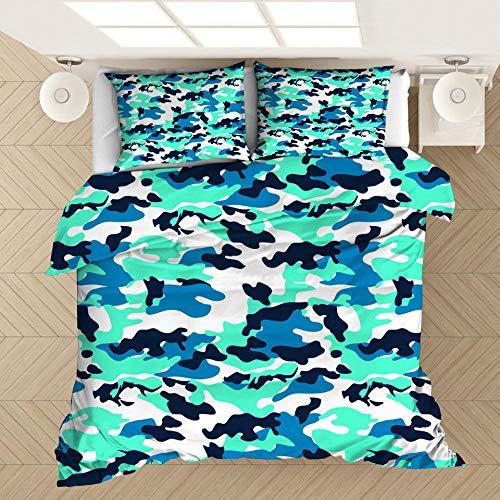 Funda de almohada con funda nórdica con estampado de camuflaje en 3D, cama individual doble tamaño king, dormitorio decorativo, apartamento, ropa de cama suave y cómoda-8_135 * 200 cm (2 piezas)